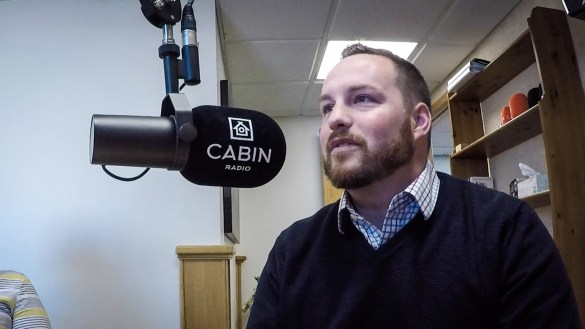 Ryan Fequet in Cabin Radio's Studio One in April 2018