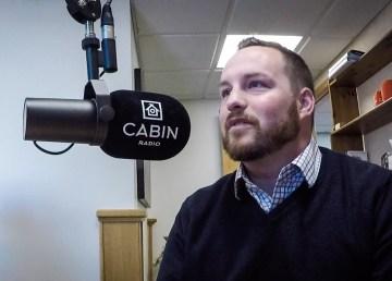 Ryan Fequet in Cabin Radio's Studio One in April 2018