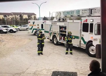 Yellowknife city councillor Niels Konge took this photograph of emergency crews attending a fire at the city's pool complex