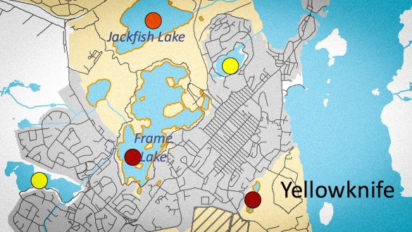 A detail from a map of Yellowknife showing levels of arsenic contamination, published in June 2018