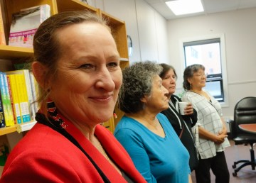 NWT employment minister Caroline Cochrane meets staff of the NWT Native Women's Association on June 27, 2018