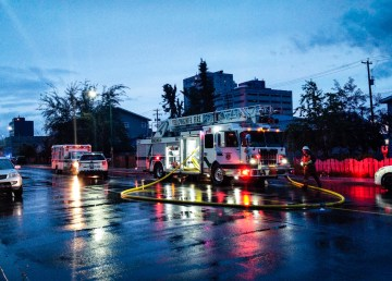 A fire truck responds to a callout on Yellowknife's 51 Street on the night of July 31, 2018