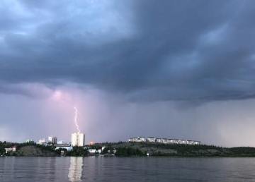 Lightning strikes Yellowknife on the evening of July 5, 2018 - taken by Mike Harling