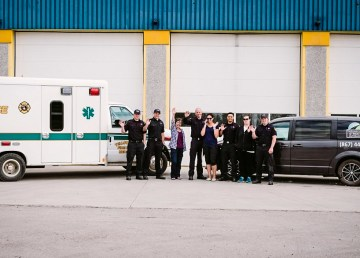 Street outreach workers and City of Yellowknife staff are pictured in an image released by the City in July 2018