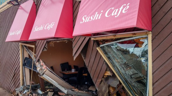The front of Sushi Café is shown, destroyed, following an incident involving a truck on July 15, 2018