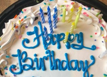 A birthday cake posted to Facebook by Brad Mapes, mayor of Hay River, earlier this year