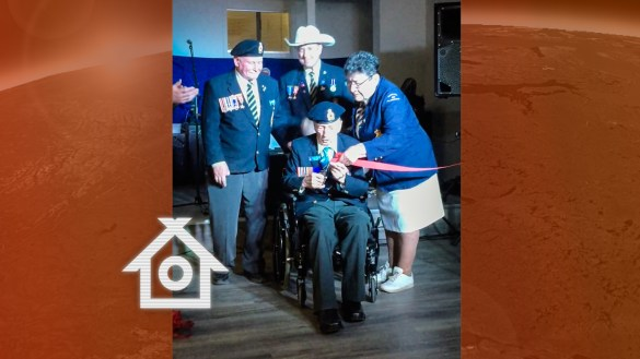 Dusty Miller, front, at the opening of Yellowknife Legion's new location in May 2018
