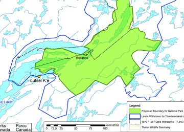 The 14,000km2 proposed boundary for Thaidene Nene National Park Reserve is shaded in green. Parks Canada.