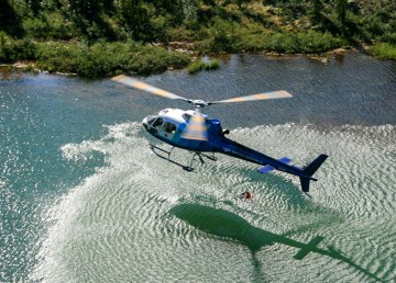 A Great Slave Helicopters aircraft engaged in fire suppression work