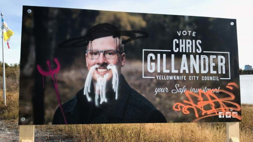 An election sign belonging to Chris Gillander appears in its vandalized form