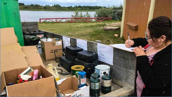 Household hazardous waste is collected and itemized on the Hay River Reserve