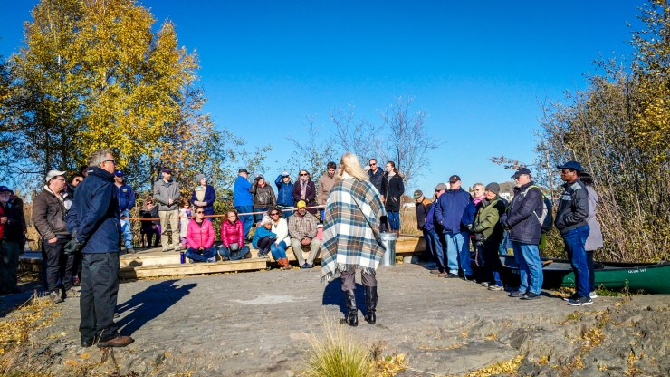 Norma Jarvis (centre), Rotary Club of Yellowknife president, opens the Rotary Park boardwalk in September 2018