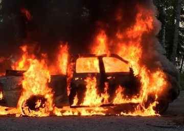 A submitted photo of the vehicle on fire at Pine Lake Campground on August 26.