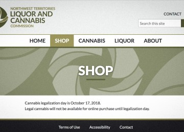 A screengrab of the NWT Liquor and Cannabis Commission's new website
