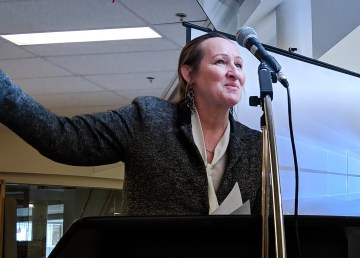 Caroline Cochrane, the education minister, speaks at Mildred Hall School in April 2018