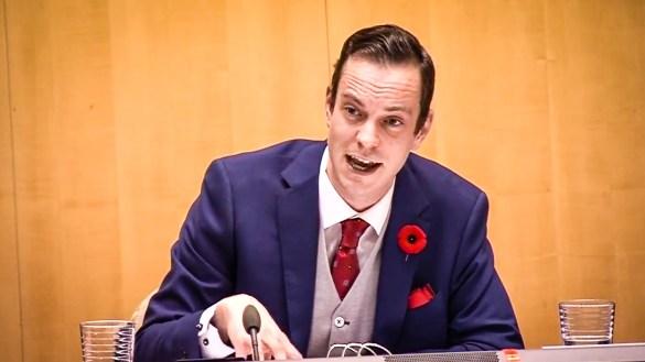 Kieron Testart appears in a webcast of proceedings at the Legislative Assembly on October 29, 2018