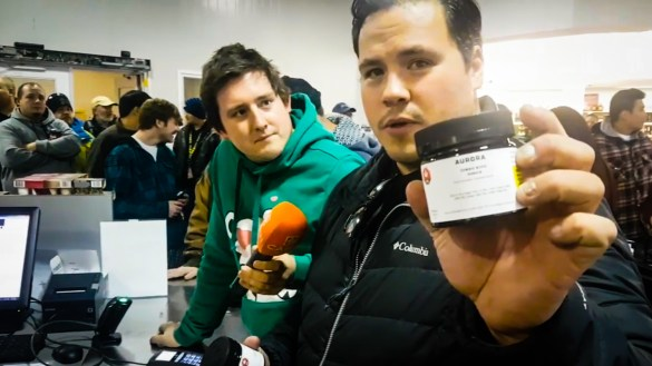 Ollie and Jesse purchase cannabis from Yellowknife's uptown liquor store
