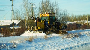 A file photo of a train snowplow in Hay River in November 2018. Sarah Pruys/Cabin Radio