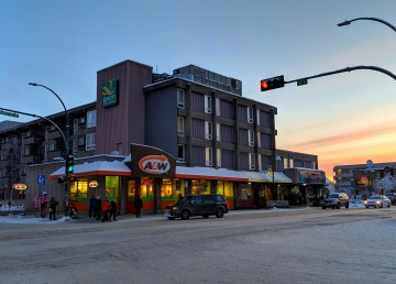 A file photo of Yellowknife's A&W in December 2018. Sarah Pruys/Cabin Radio