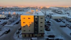 A file photo of the The Bowling Green building in downtown Yellowknife in December 2018. Sarah Pruys/Cabin Radio