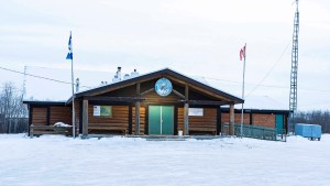 A file photo of the Antoine Beaulieu Memorial Hall in Fort Resolution in December 2018. Sarah Pruys/Cabin Radio