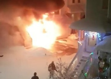 A photo of a fire at Yellowknife's Gold City Court in December 2018