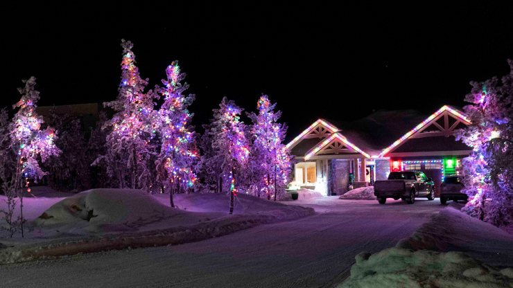 Yellowknife Christmas lights: A festive forest in Grace Lake