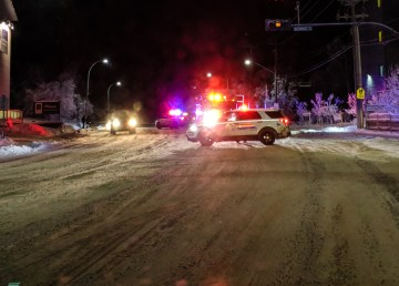 Emergency vehicles on Yellowknife's Franklin Avenue on the morning of December 7, 2018