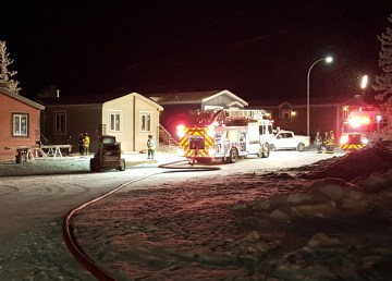 Firefighters respond to.a call on Yellowknife's Hall Crescent in December 2018