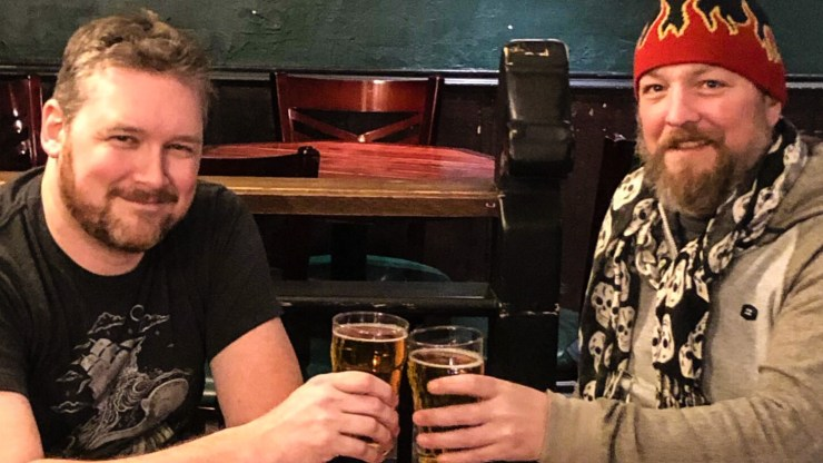 Patrick Jacobson, left, and Nathan Knox inside Yellowknife's Black Knight Pub
