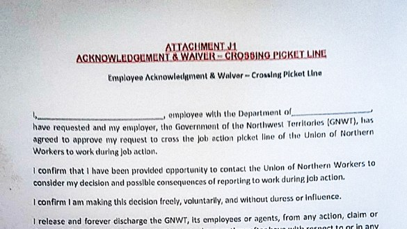 A GNWT form to be signed by employees wishing to cross a picket line during an anticipated 2019 general strike