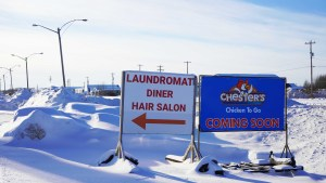 A file photo of the Chester's Coming Soon sign in Hay River in February 2019. Sarah Pruys/Cabin Radio