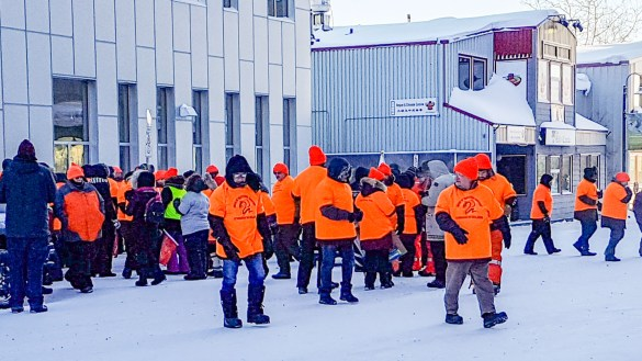 Union members rally outside a territorial government building in February 2019