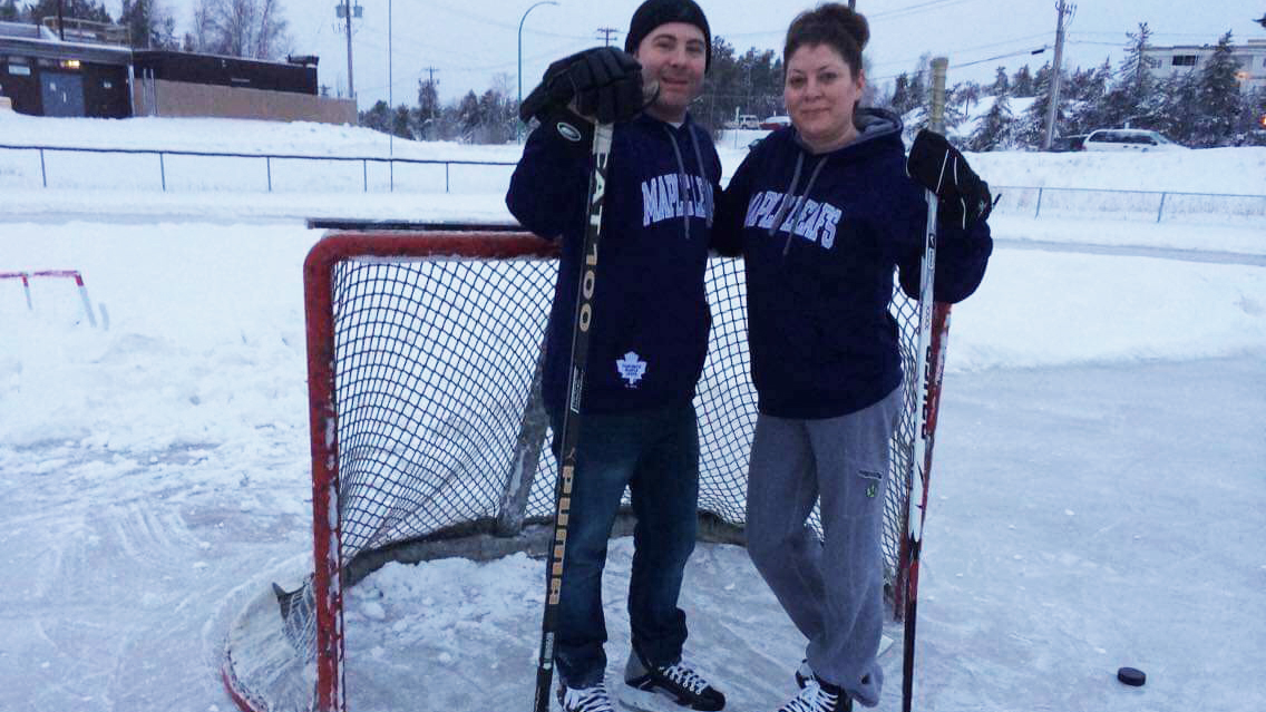Will and his partner Audrey playing outdoor hockey. Submitted photo.