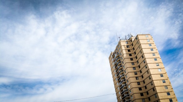 A file photo of Hay River's highrise in the summer of 2018