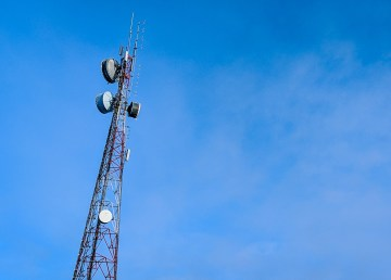 A telecommunications tower is pictured in downtown Yellowknife on March 12, 2019