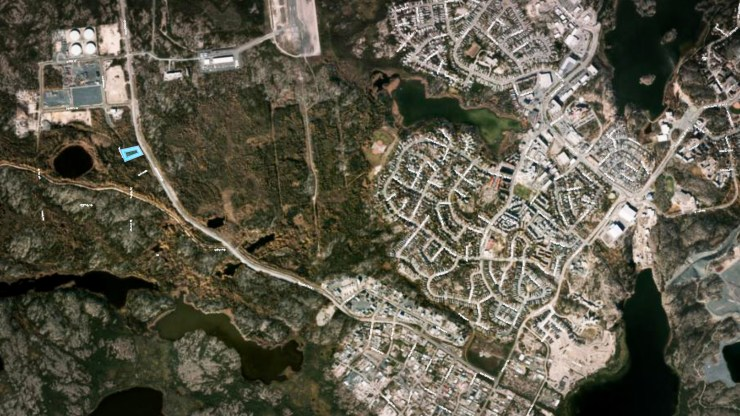 An aerial view of Deh Cho Boulevard, bottom left, highlights the proposed location of a new cannabis production facility