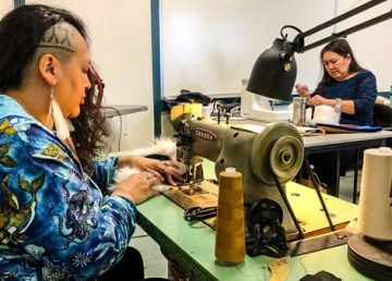 Attendees at a seal garment sewing workshop in Yellowknife on March 27, 2019