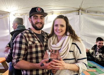 Brendan Lewis and Lorena Ellis got engaged at the Long John Jamboree on Friday night. With the help of an ice carver, Lewis placed the ring in a block of ice. Sarah Pruys/Cabin Radio