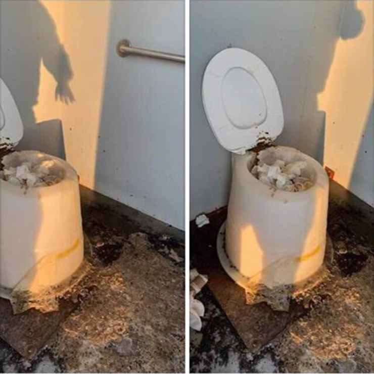 Photographs of a messy toilet at an NWT highway washroom, posted to Facebook in March 2019