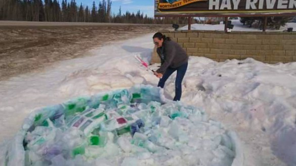 Hay River's milk carton igloo was taken down on Sunday after just three weeks. Carla Norn/Photo