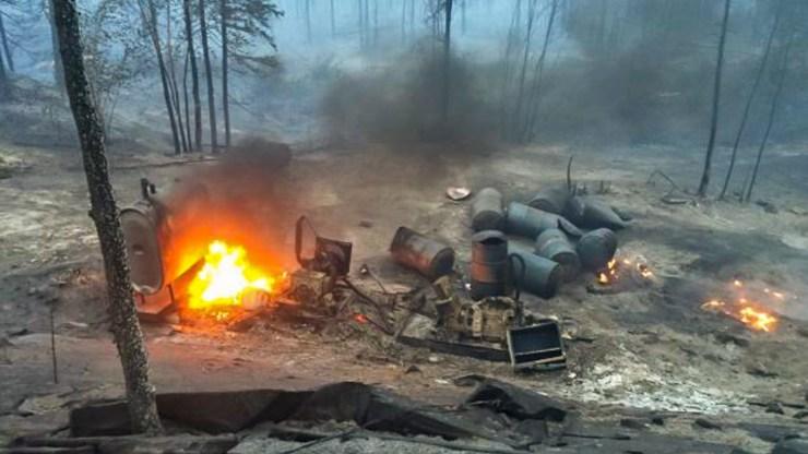Fire burns at the site of Namushka Lodge in 2016