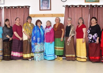 Forta Smith women model their handmade ribbon skirts in April 2019 in this submitted photo.
