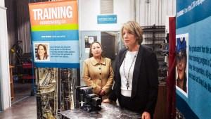 Nancy Orem Lyman, executive director of the Diamond Empowerment Fund, address dignitaries in Yellowknife on April 12, 2019