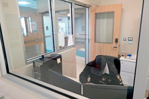An area for security staff outside the new hospital's emergency room