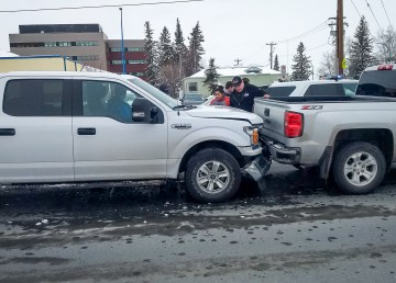 Two vehicles involved in an incident on Yellowknife's Franklin Avenue on April 25, 2019