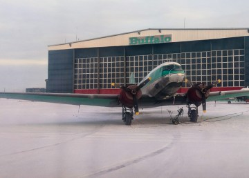 A Buffalo Airways aircraft outside the airline's hangar in December 2018
