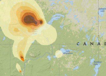 A wildfire smoke forecasting service shows smoke projected to settle over the North Slave on the afternoon of May 20, 2019