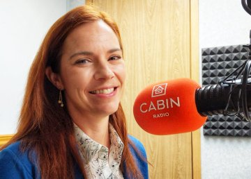 Caroline Wawzonek in Cabin Radio's Studio Two on April 29, 2019