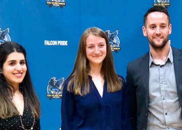 Left to right: Pooja Chugh, Hannah Clark and Graeme Ryder are inducted to Sir John Franklin High School's athletics hall of fame